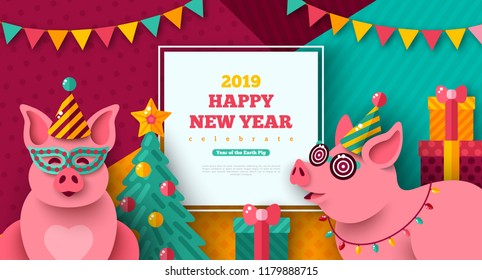 2019 Happy New year with cheerful pigs in carnival masks and caps. Vector illustration. Photobooth party. Christmas tree with gift box on modern geometric background