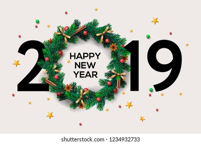 2019 Happy New Year or Christmas background creative design for your greetings card, flyers, invitation, posters, brochure, banners, calendar, vector illustration.