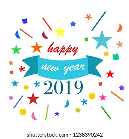 2019 Happy New Year Color Logo Template vector