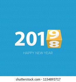 2019 Happy new year creative design background or greeting card. 2019 new year numbers on blue