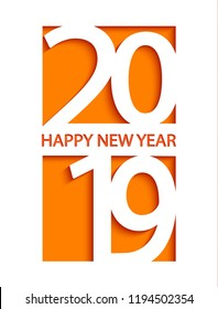 2019 Happy New Year creative card design for greetings, flyers, invitation, posters, brochure, banners and calendar, web and other design. Vector illustration.