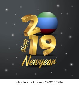 2019 Happy New Year Dagestan Flag Typography. Abstract Celebration background