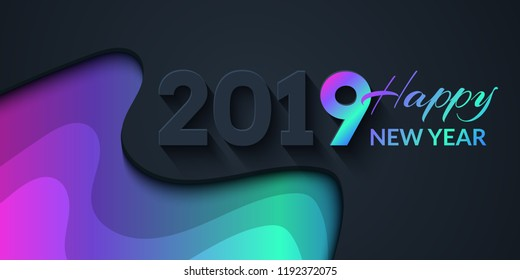 2019 Happy New Year Dark Background with colorful gradient shapes composition. Creative trendy holiday illustration
