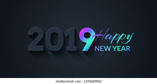 2019 Happy New Year Dark Holiday Background with colorful gradient. Creative trendy illustration with numbers