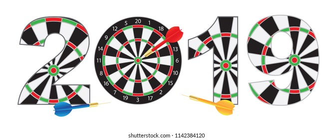2019 Happy New Year Dartboard with Darts on Hitting Target Bullseye Numerals Outline vector  Illustration Isolated on White Background