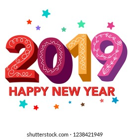 2019 happy new year design vector template