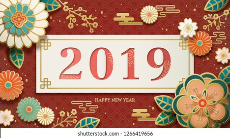 2019 Happy new year design with paper art flowers and wavy background