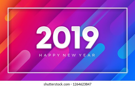2019 happy new year with dynamic color vector background. 3D modern vector background