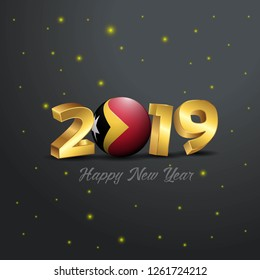 2019 Happy New Year East Timor Flag Typography. Abstract Celebration background