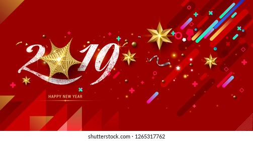2019 Happy New Year with festive confetti, and golden stars on red background. Vector holiday illustration. Happy New 2019 Year. New year ornament. Decoration element Vector