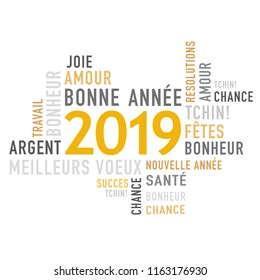 2019 Happy New Year with French greeting Text
