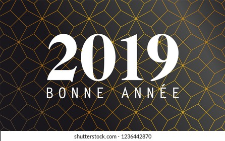 2019 happy new year french text with luxury abstract background