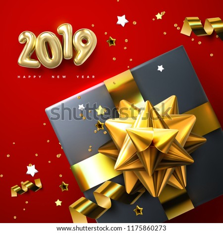 happy new year gift boxes with golden glossy bows ribbons and sparkling