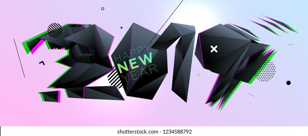 2019 Happy New Year glitch art style design for modern covers, greeting cards, brochures, posters and placards. Eps10 vector illustration