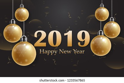 2019 Happy new year with gold alphabet and gold christmas ball on black background