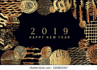 2019 Happy New Year -golden  art  backgrounds for your template posters, banners, and greetings card or christmas themed invitations. Golden foil.  Vector illustration.