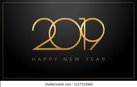 2019 Happy New Year greeting card gold and black background - vector illustration