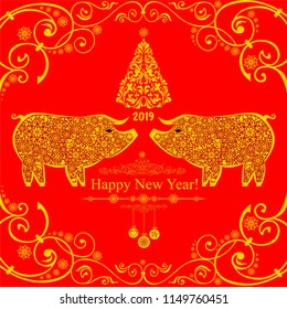 2019 Happy New Year greeting card. Celebration red background with pigs, Christmas tree, snowflakes, balls and place for your text. Vector Illustration
