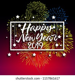 2019 Happy New Year greeting card with colorful fireworks. Vector design template.