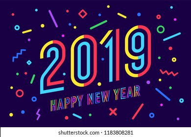 2019 happy new year greeting card with inscription happy new year 2019 memphis