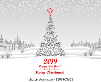 2019 Happy New Year greeting card. Christmas tree.  Celebration background with Christmas Landscape, Christmas balls and place for your text. Vector Illustration