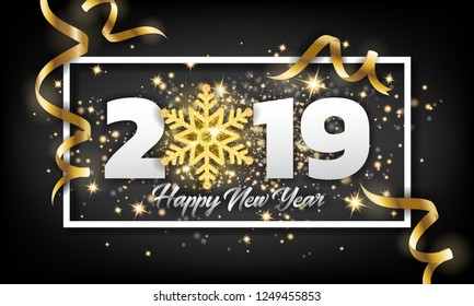 2019 Happy New Year Greeting Card Background. Vector illustration