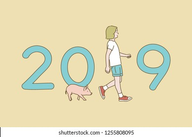 2019 happy new year greeting card concept hand drawn style vector design illustrations.