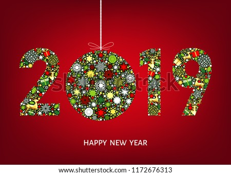 2019 happy new year greeting card on red background with christmas ball with gold reindeer and