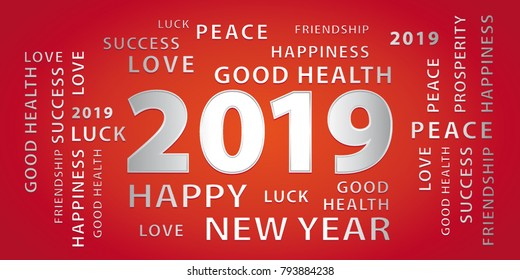 2019 happy new year greetings vector banner red and silver