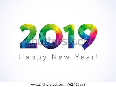 2019 a happy new year greetings abstract celebrating congratulating stained glass numbers jubilee or