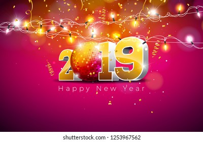 2019 Happy New Year illustration with 3d gold number, disco ball and lights garland on violet background. Holiday design for flyer, greeting card, banner, celebration poster, party invitation or