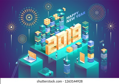 2019 Happy New Year. New innovative ideas. Digital technologies. Vector illustration