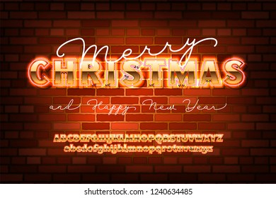 2019 happy new year invitation golden christmas font with neon bold sans serif alphabet