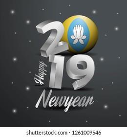 2019 Happy New Year Kalmykia Flag Typography. Abstract Celebration background
