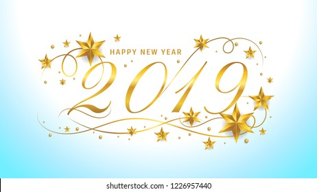 2019 Happy new year lettering template. Greeting or gift voucher card with golden stars, typographic vintage illustration, calligraphic letter