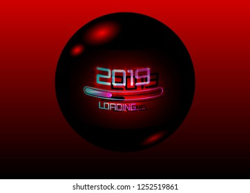 2019 Happy new year with loading icon red neon style. Progress bar almost reaching new year's eve. Vector illustration with 2019 loading in 3D black ball Isolated or dark red light background