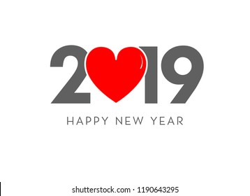 2019 happy new year love concept vector