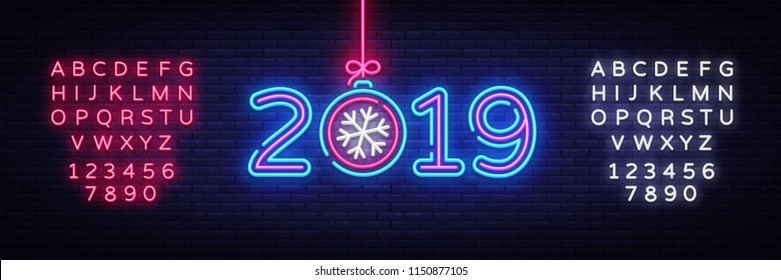 2019 Happy New Year Neon Text. 2019 New Year Design template for Seasonal Flyers and Greetings Card or Christmas themed invitations. Light Banner. Vector Illustration. Editing text neon sign
