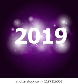 2019 Happy New Year on violet background, stock vector