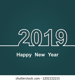 2019 Happy New Year on green background, stock vector