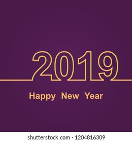 2019 Happy New Year on purple background, stock vector