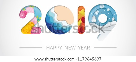 2019 happy new year paper art with spring, summer, autumn and winter. Vector illustration.