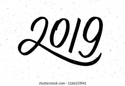 2019 Happy New Year of the Pig. Greeting card design template with chinese calligraphy for holiday. Hand drawn lettering on vintage subtle grunge background. Vector illustration