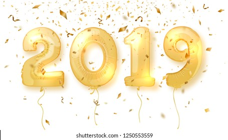 2019 Happy New Year. Realistic gold number balloons for festive poster or banner design. Vector illustration
