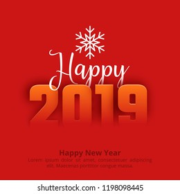2019 Happy New Year red greeting background. Paper text design. Vector illustration with numbers and snowflake