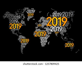 2019 Happy New Year, in shape of World Map typography, word cloud collage concept