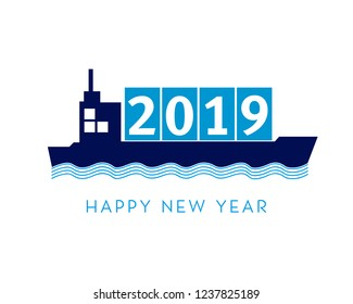 2019 happy new year with shipping concept