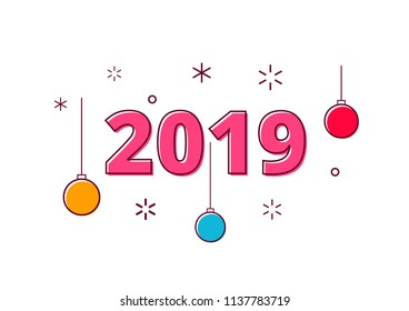 2019 Happy new year simple and minimalistic postcard, white background. Vector illustration Isolated flat design, outline. Modern concept of a thin contour line. Billet for banner, poster, postcard.