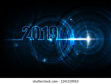 2019 Happy new year with technology abstract background of futuristic telecom and network communication, Vector illustration