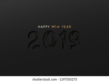 2019 Happy New Year. Text black Effect of the cut paper with the embossed. Vector dark background creative design greeting card, banner, poster.